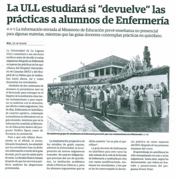 La ULL estudiará si devuelve las prácticas a alumnos de Enfermería