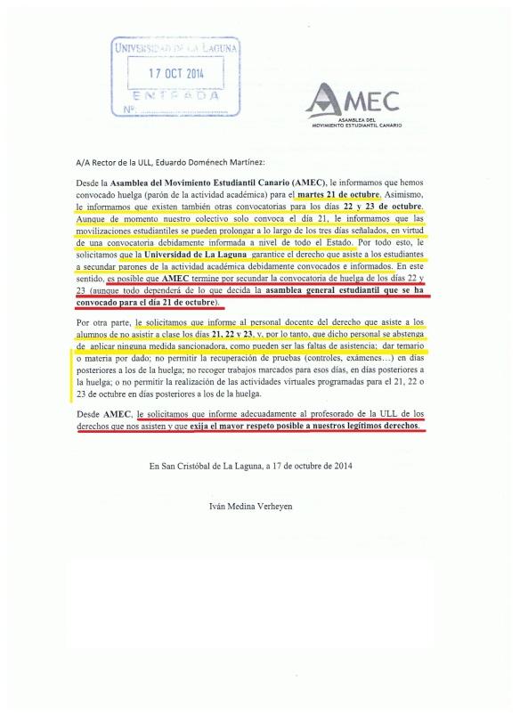 Escrito huelga Doménech